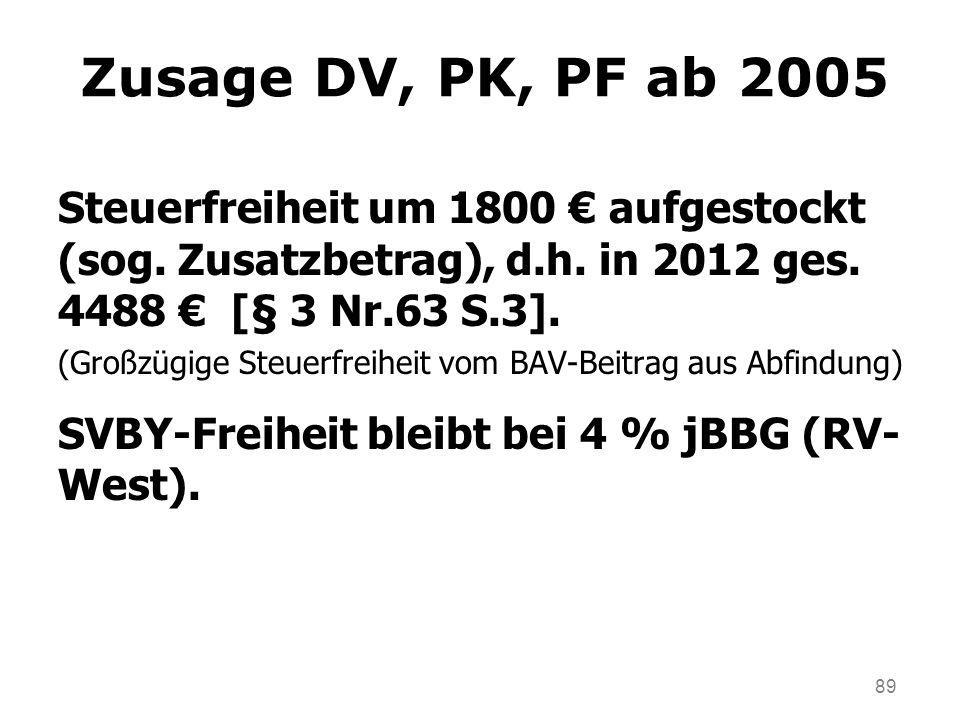 Zusage DV, PK, PF ab 2005 Steuerfreiheit um 1800 € aufgestockt (sog. Zusatzbetrag), d.h. in 2012 ges. 4488 € [§ 3 Nr.63 S.3].